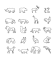 Animals thin line icons vector image vector image