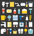 big set of bathroom item and facilities icon vector image