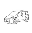 Black and white hand drawn car on white background vector image vector image