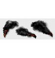 black smoke with fire dark fog clouds or steam vector image vector image