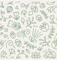 botanical seamless pattern with blooming flowers vector image