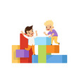 boys playing and having fun on playground vector image