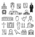 burial and interment ceremony funeral icons vector image vector image