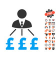 businessman pound expenses icon with valentine vector image