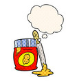 cartoon peanut butter and thought bubble in comic vector image vector image