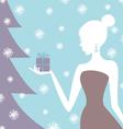 christmas gift girl vector image vector image