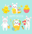 collection of cute easter chicken and bunny vector image vector image