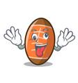 crazy rugby ball mascot cartoon vector image vector image