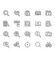 data search flat line icons set magnify glass vector image