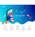 delivery landing with phone icons vector image vector image