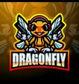 dragonfly esport mascot logo design vector image vector image