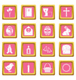 easter items icons pink vector image vector image