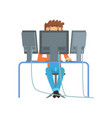 engineer system it administrator at work vector image vector image