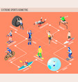 extreme sports isometric flowchart vector image vector image