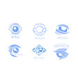 eye care optics logos collection clinic or vector image
