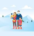 family in winter season vector image