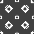 first aid kit icon sign Seamless pattern on a gray vector image vector image