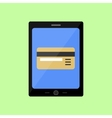 Flat style touch pad with bank card vector image