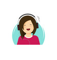 girl in headphones listening music and smiling vector image vector image