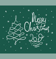green doodle merry christmas lettering vector image