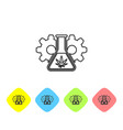 grey line chemical test tube with marijuana or vector image vector image