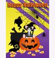 halloween elements background with happy vector image vector image