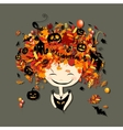 Halloween holiday design female head vector image vector image