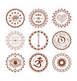 hand drawn brown henna circle symbolic emblems vector image