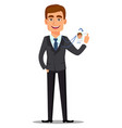 handsome banker in business suit vector image