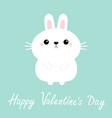 happy valentines day white bunny rabbit hare icon vector image vector image