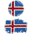Icelandic round and square grunge flags vector image vector image