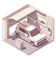 isometric garage and electric vehicle vector image vector image