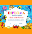 kids education diploma with fish crab and turtle vector image vector image