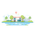 landscape with a pond - modern flat design style vector image vector image