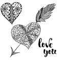 love you set doodle hearts vector image