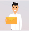 man holding a mail manager or businessman shows vector image