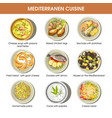 mediterranean cuisine dishes icons set vector image vector image