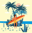 men surfer character with surfboard in shorts on vector image vector image