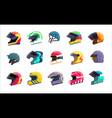 motor helmet racing uniform with visor for head vector image