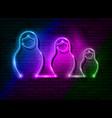 neon sign russian nesting dolls matryoshka set vector image