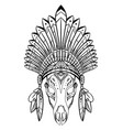 outline drawing deer skull with native cap of vector image vector image