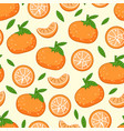 pattern with fresh tangerines with green leaves vector image
