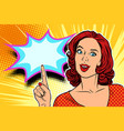 pop art woman pointing finger up vector image vector image