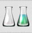 realistic glass laboratory equipment flasks or vector image