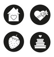 romantic gifts icons set vector image