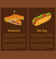 sandwich and hot dog posters vector image vector image