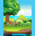 scene with trees in the field vector image vector image