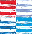 Seamless strip pattern set Red blue and white vector image