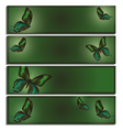 Set of banner with green butterfly vector image vector image