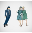 sketch girls and man in fashion clothes vector image